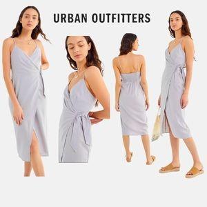 UO Quebec Linen Side-Tie Midi Wrap Dress